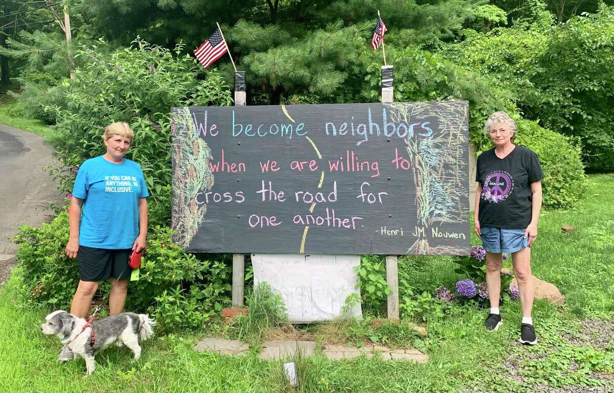 Since late 2016, mother and daughter Barbara Hitchcock and Amanda Amtmanis have put quotes they want to inspire hope and empathy on a sign in front of their house in the Cobalt section of East Hampton.