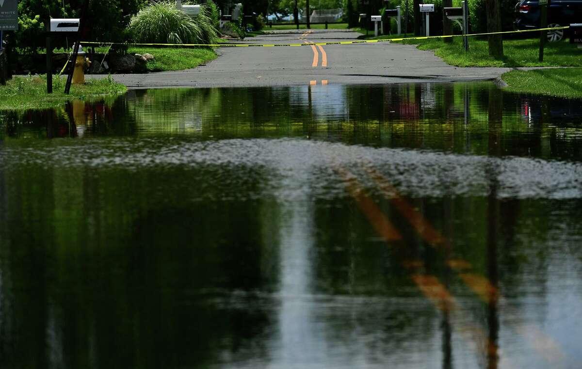 Flooding that closed Bradley Street July 9, 2021, in Westport, Conn.