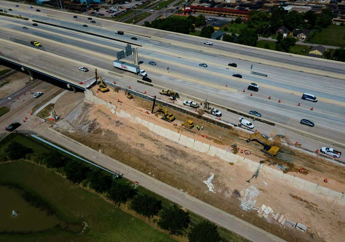 Crews continue to work on a section of southbound Texas 288 that collapsed April 18 just south of Holmes Road on May 7, 2021, in Houston. Traffic currently is being diverted onto the toll lanes with all of the general lanes of southbound Texas 288 closed. Crews plan to reopen two general lanes Monday.