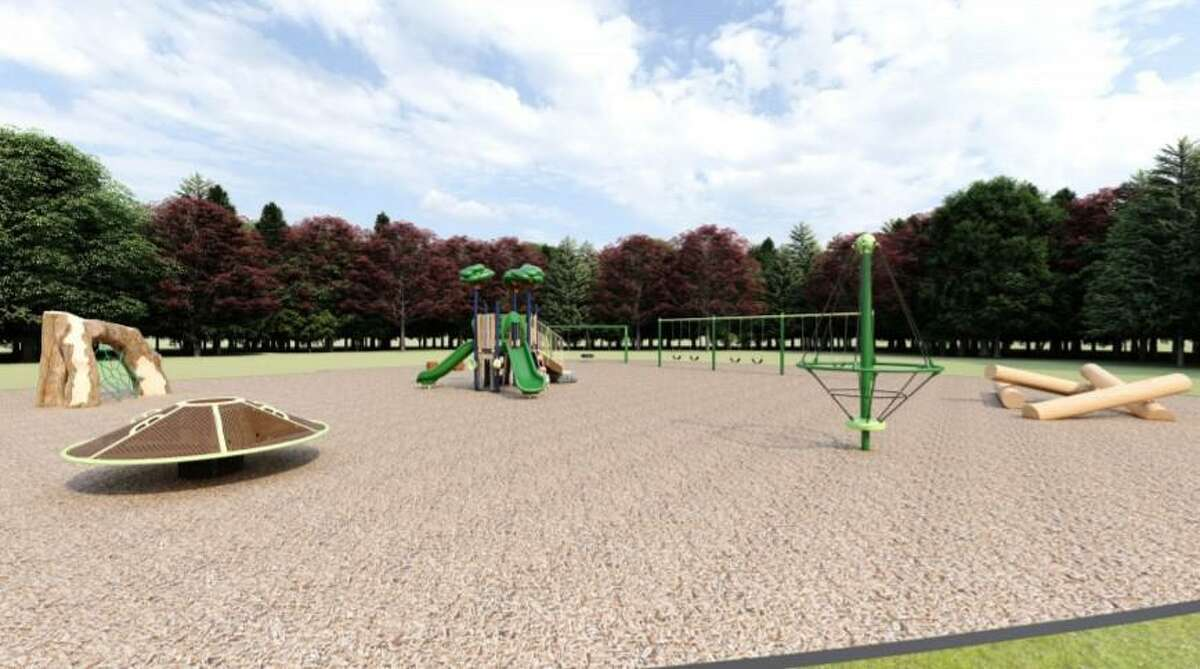 Shown are plans for a playground which will be built behind Killingworth Elementary School. UltiPlay shared visuals during a recent Board of Education facilities committee meeting.
