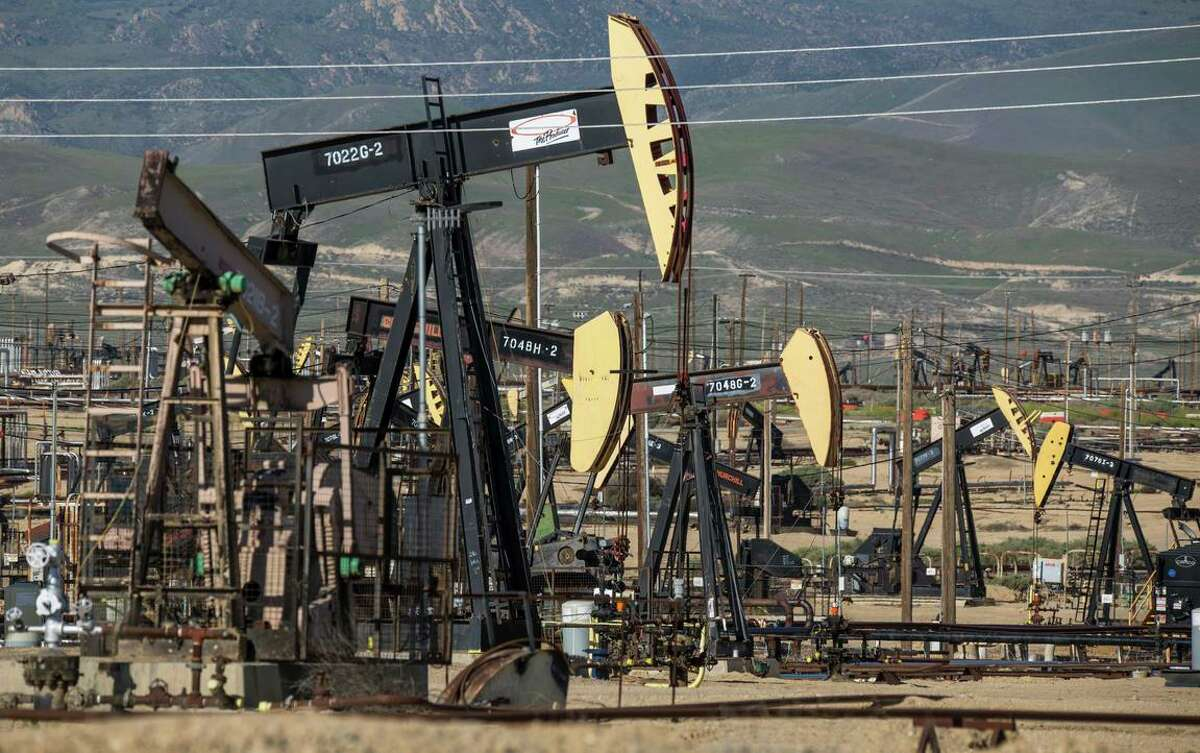Aera Energy oils rigs in the South Belridge Oil Field in Kern County. The state denied the Bakersfield company 21 fracking permits, citing concerns for public health and climate change.