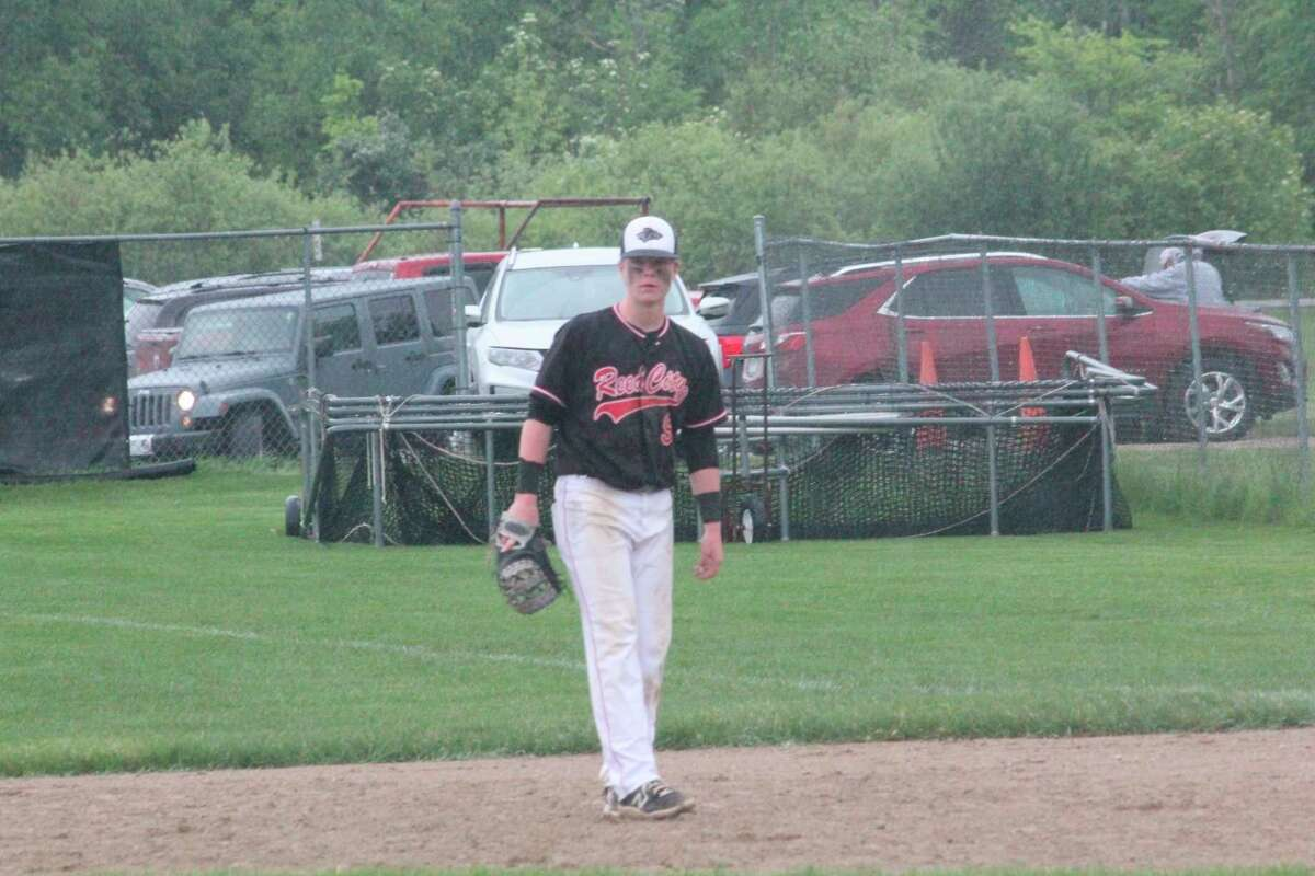 Reed City's Max Hammond readies himself in the infield during the 2021 season. (Pioneer file photo)