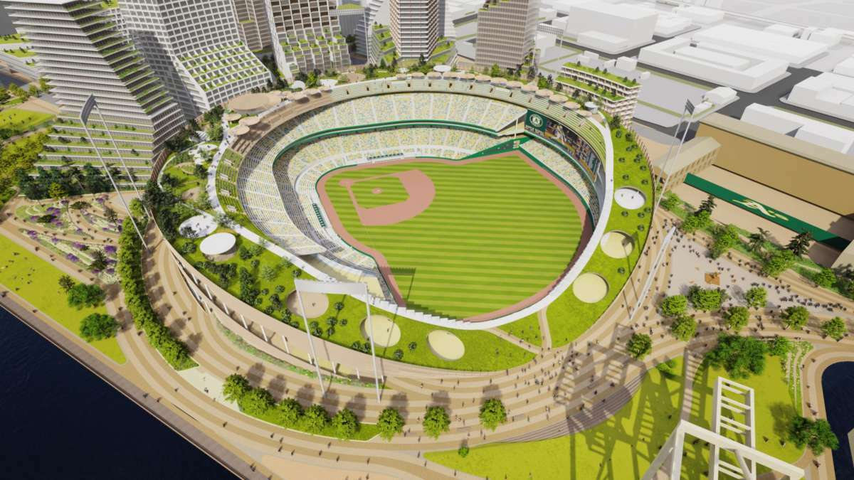 An overhead view illustration of the Oakland A's proposed Howard Terminal stadium from February 2021.