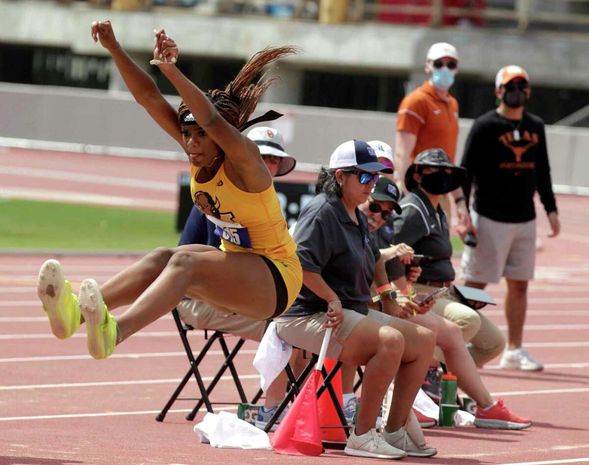 Tairah Johnson of Fort Bend Marshall competes in the girls long jump during the Class 5A UIL Track and Field Championships at Mike A. Myers Stadium, Friday, May 7, 2021, in Austin.