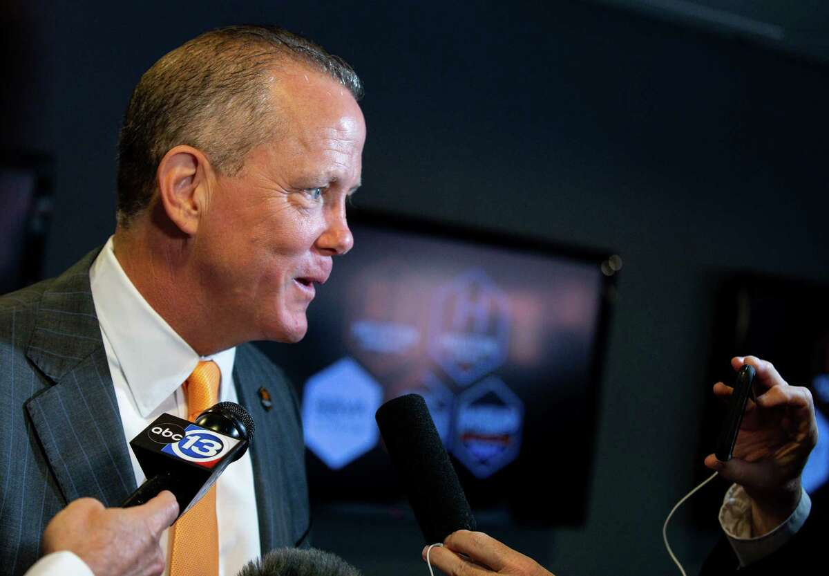 Houston Dynamo CEO Jamey Rootes talks to reporters following a press conference in which Ted Segal was announced as the majority owner at BBVA Stadium on Tuesday, June 22, 2021, in Houston.