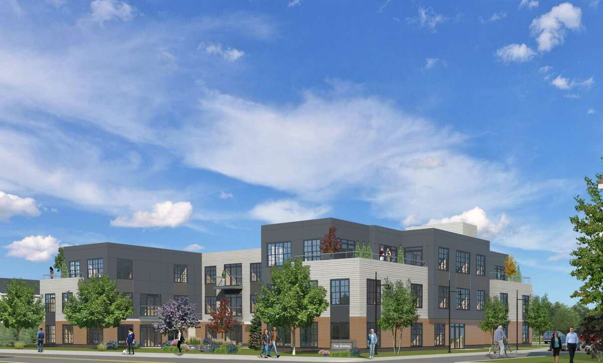 An artist's rendering of The Bradley, a 30-unit apartment complex that will be built on Bradley Road in Madison, near the town's commuter rail station and a few blocks from downtown.