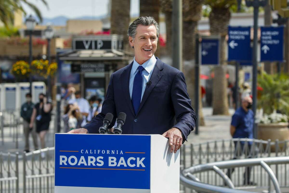 California Gov. Gavin Newsom holds a news conference at Universal Studios in Universal City, Calif., on June 15, 2021, as part of California's full reopening.