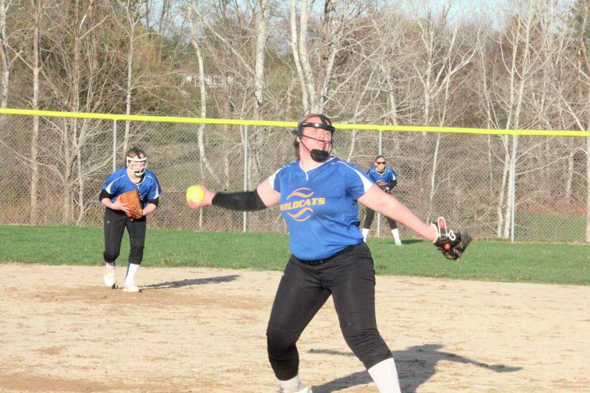 Evart's Veronica Lofquist delivers a pitch during the 2021 softball season. (Pioneer file photo)