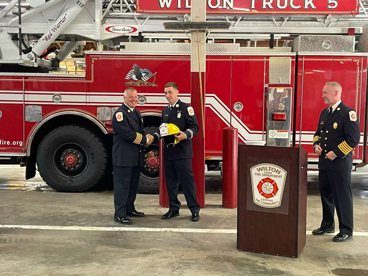 William (Bill) Wilson was named the new fire captain of the Wilton Fire Department on July 9 at the department's headquarters.