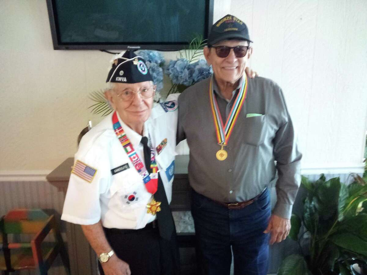 Marine Corps Sgt. Nick Gandolfo of Canaan, left, and Army Cpl. Michael Gallatella of Torrington both served in the Korean War from 1951 to 1954. The veterans only met a few years ago, but share a close friendship based on their experiences during the war.
