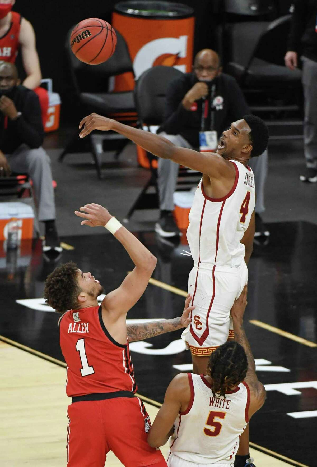 Evan Mobley, blocking a shot in Pac-12 tournament against Utah, has star potential on defense but questions remain on if he would need help in certain matchups.