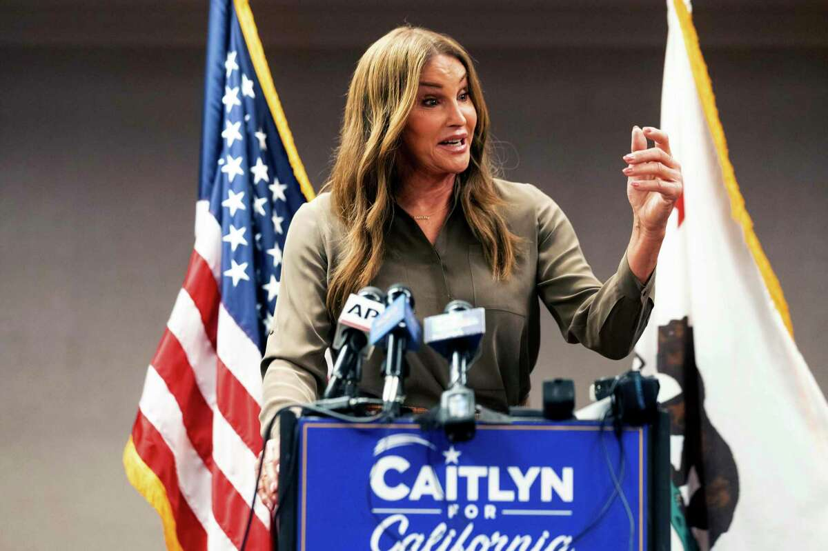 Caitlyn Jenner, Republican candidate for California governor, speaks during a news conference on Friday, July 9, 2021, in Sacramento, Calif. Jenner said she is a serious candidate and asserted she is leading the field of Republican candidates, even though no independent polling has been that shows that.