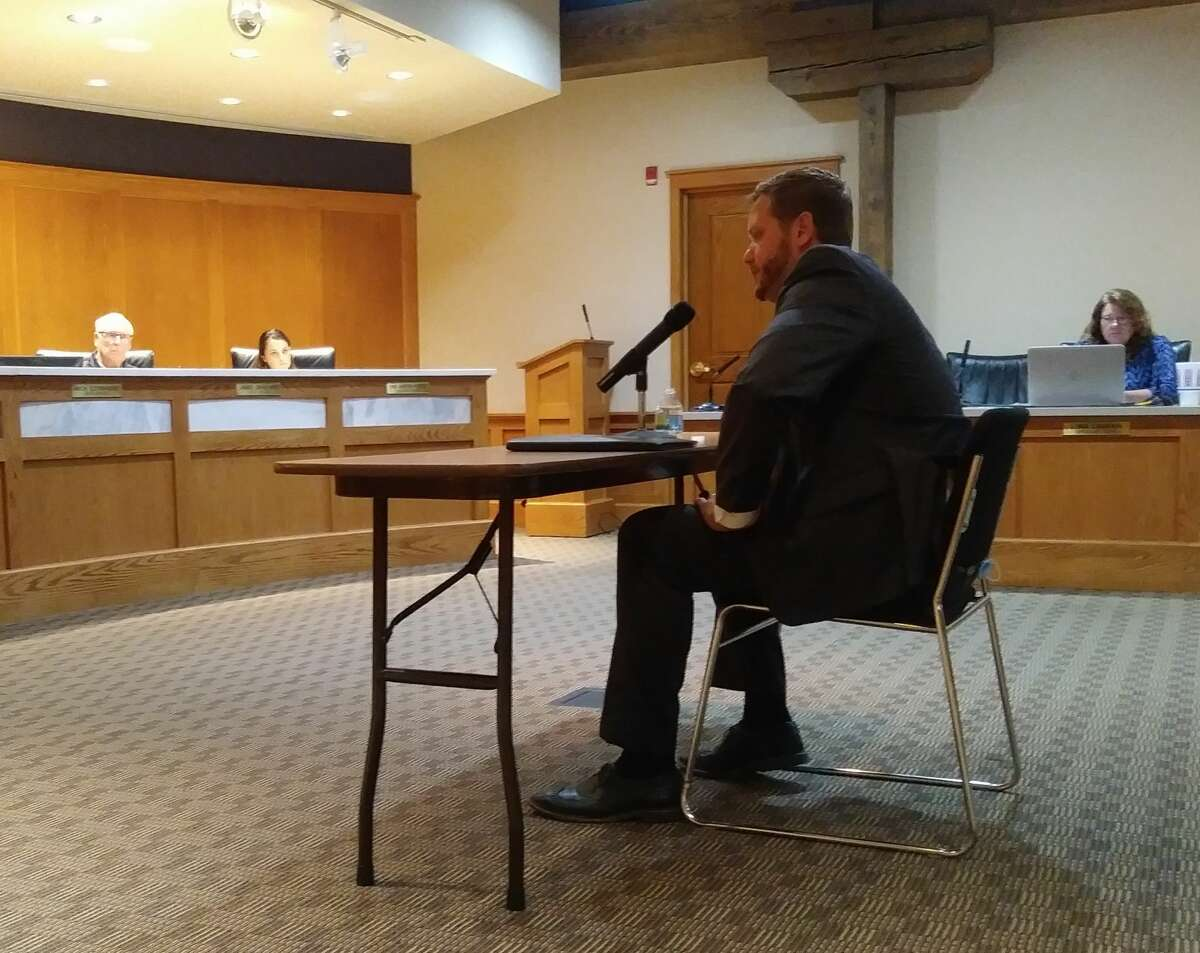 William Gambill was interviewed for the city manager position at Manistee City Hall Thursday evening.