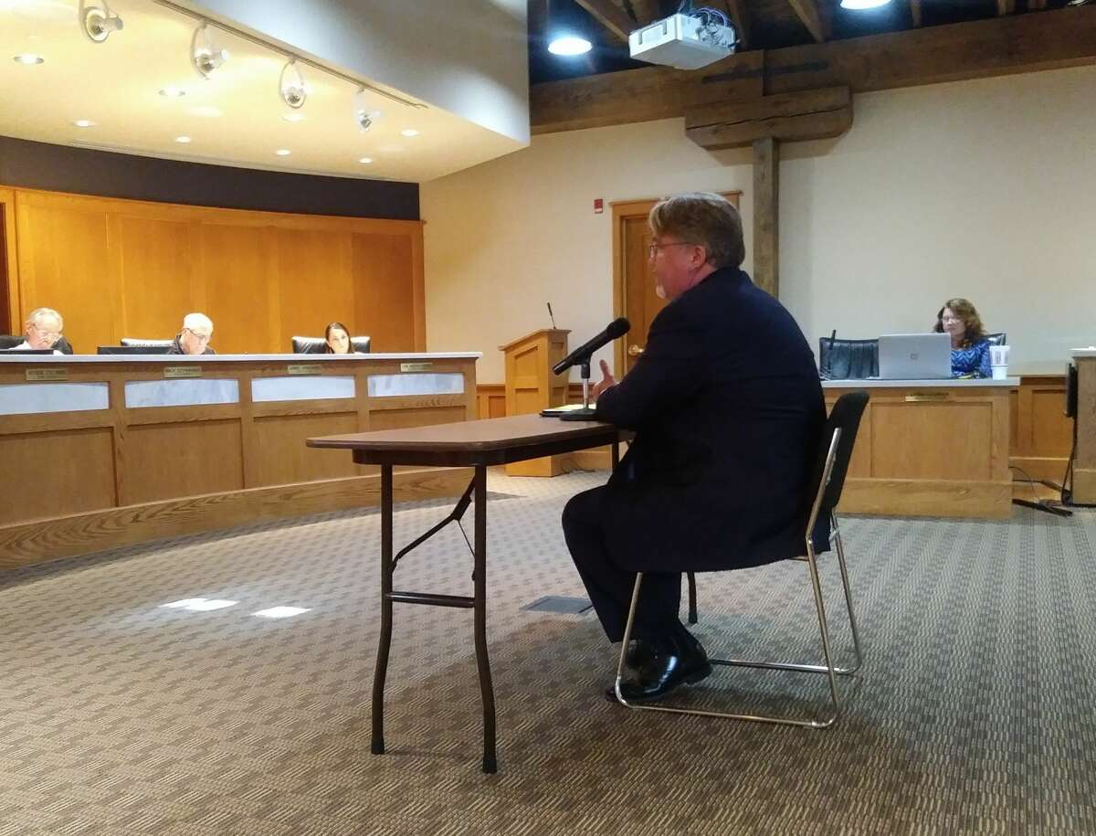 Marc Miller was interviewed for the Manistee city manager position at Manistee City Hall Thursday evening.