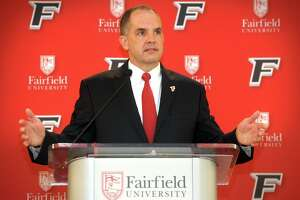 Fairfield University Athletic Director Paul Schlickmann speaks at a press conference on the Fairfield, Conn. campus April 10, 2019. Jay Young was introduced as the new men's basketball coach at the event.