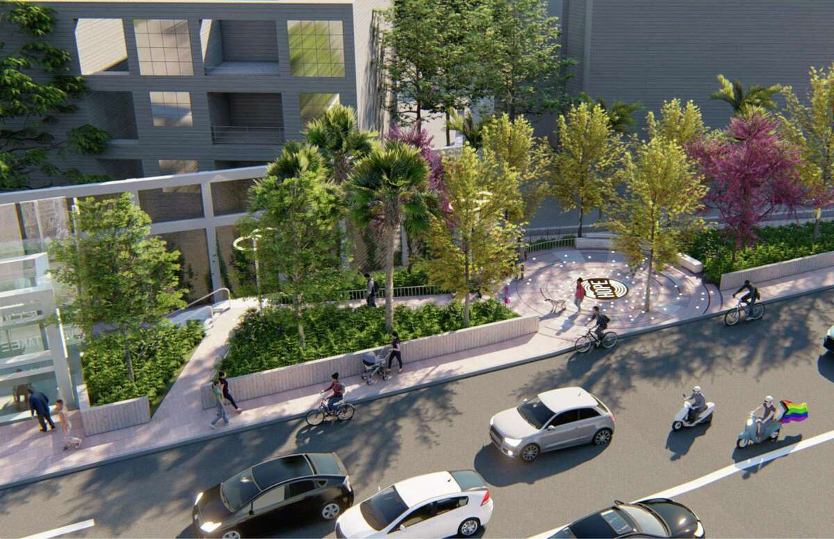 """A proposed redesign of the Harvey Milk Plaza includes a circular grove with """"Hope"""" at the center."""