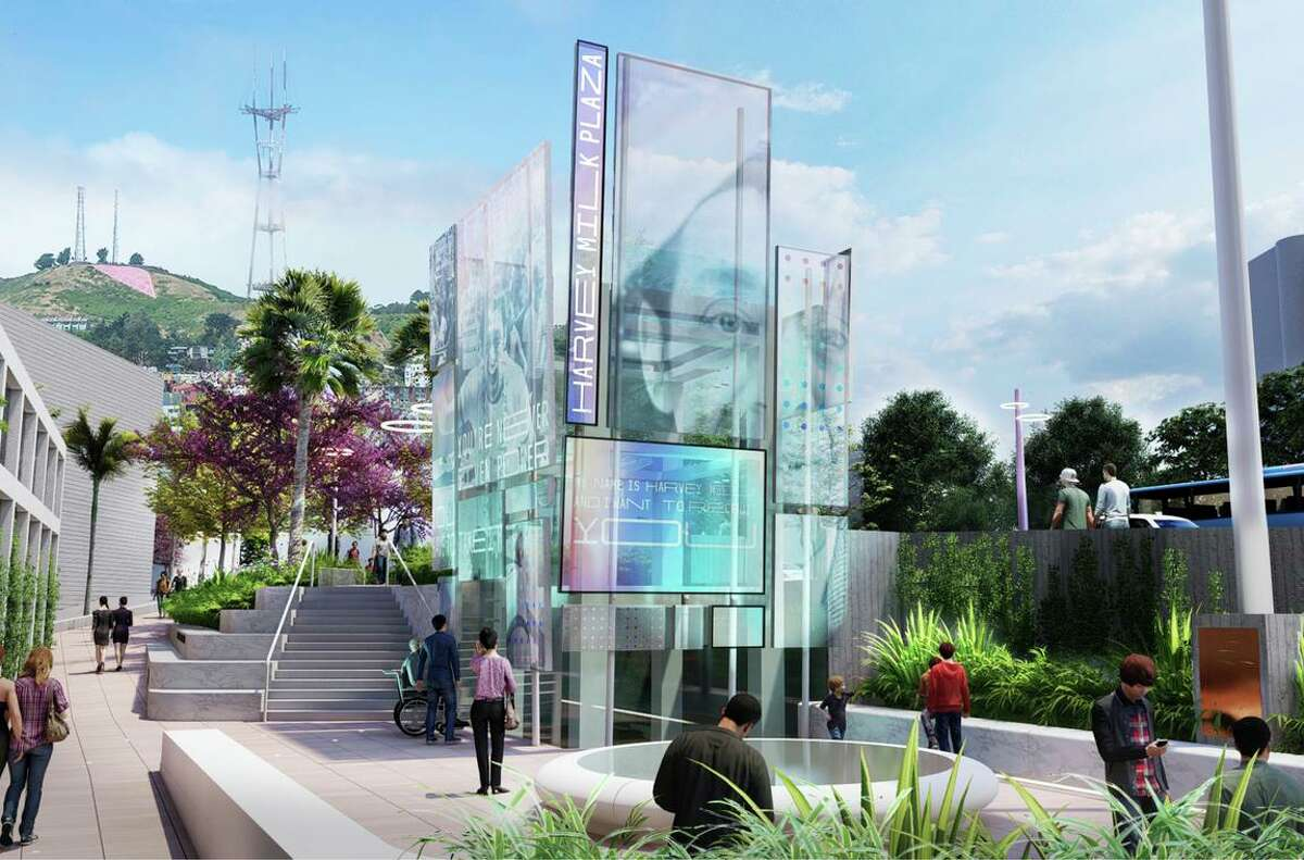 A new elevator at Harvey Milk Plaza would be covered in digital display boards, reminiscent of protest signs, that could be updated to reflect the social issues of the day.