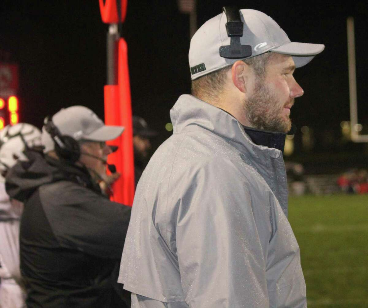Pine River football coach Terry Martin watches the action in a game with Reed City during the 2018 season. (Pioneer file photo)