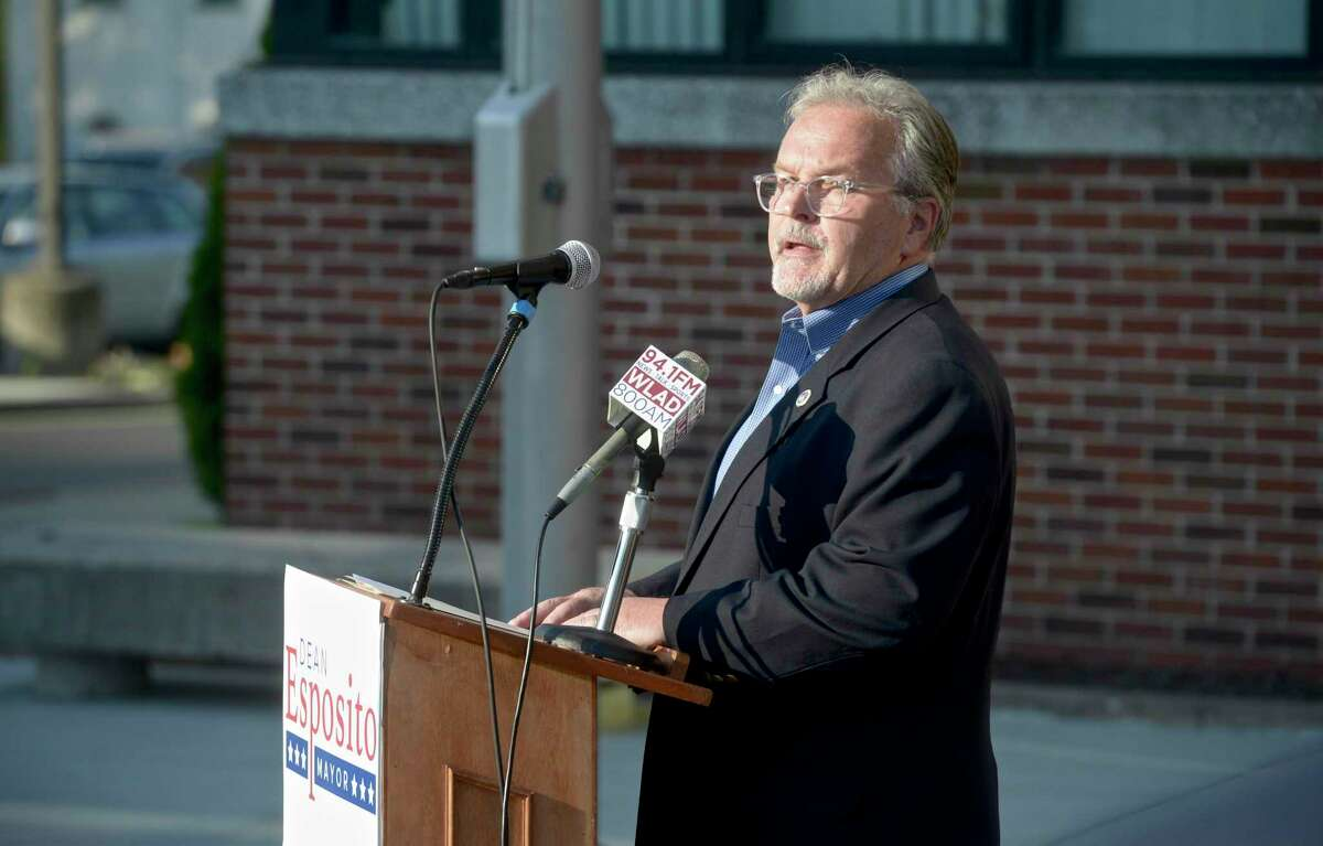 Dean Esposito speaks after being endorsed for mayor by Mayor Joseph Cavo, at City Hall on Tuesday evening. May 18, 2021, in Danbury, Conn. He will face Democrat Roberto Alves in the November election.