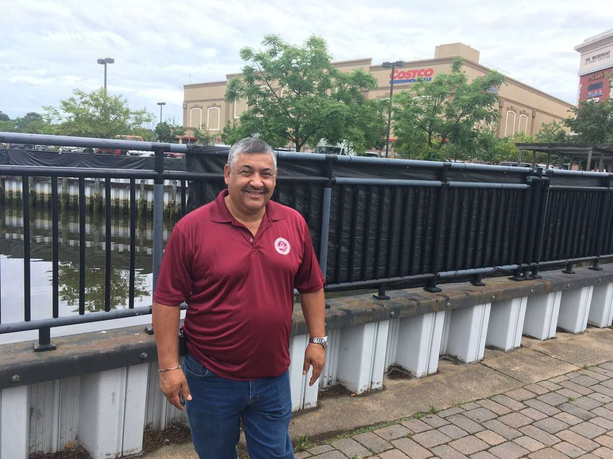 Mayor Luis Marino of Port Chester took part in a ceremony to initiate an $8 million seawall construction project on the village waterfront along the Byram River.