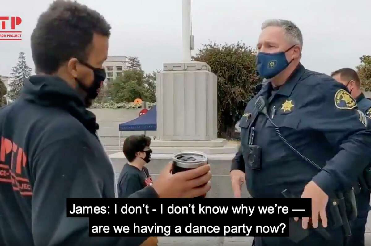 Screen capture from a video encounter between James Burch and Alameda County Sheriff's Sgt. David Shelby.