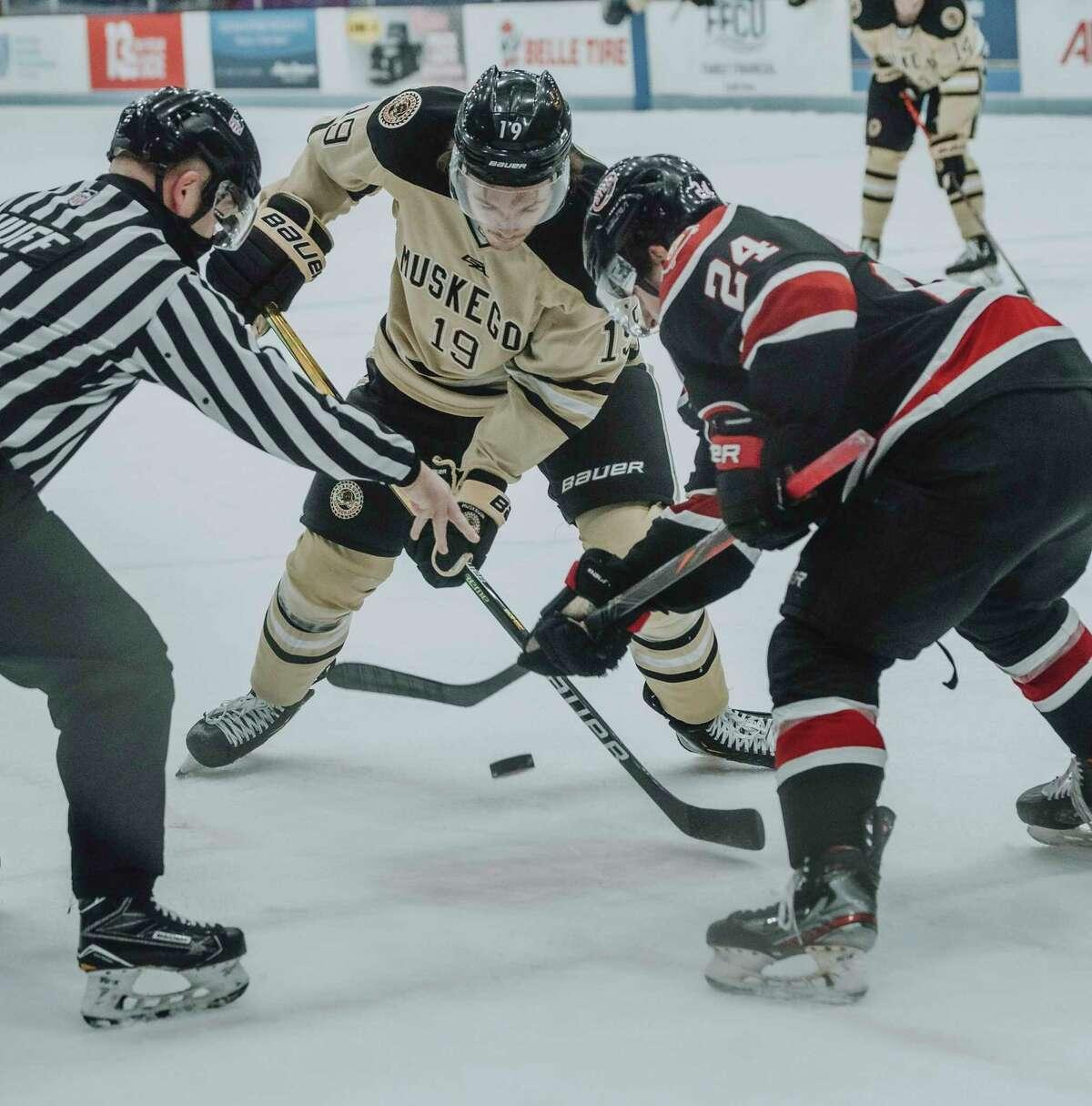 Big Rapids' Bradley Marek (19) played with the Muskegon Lumberjacksin the USHLlast seasonwill be joining Ferris State's hockey program this year. (Photo courtesy of the Muskegon Lumberjacks)