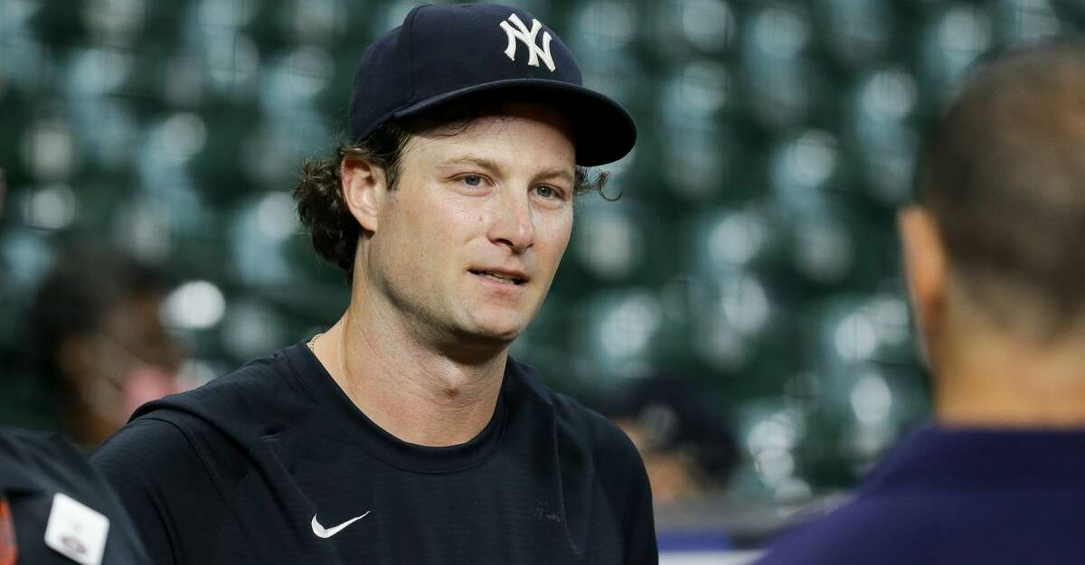New York Yankees starting pitcher Gerrit Cole (45) during warmup before an MLB game against the Houston Astros at Minute Maid Park on Friday, July 9, 2021, in Houston.
