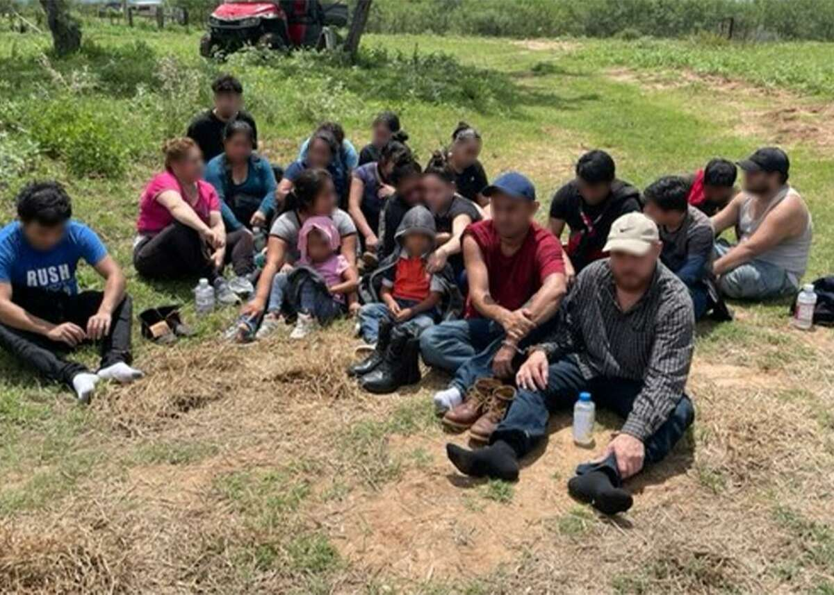 U.S. Border Patrol agents discovered these migrants inside a shed on a ranch property southwest of Hebbronville.