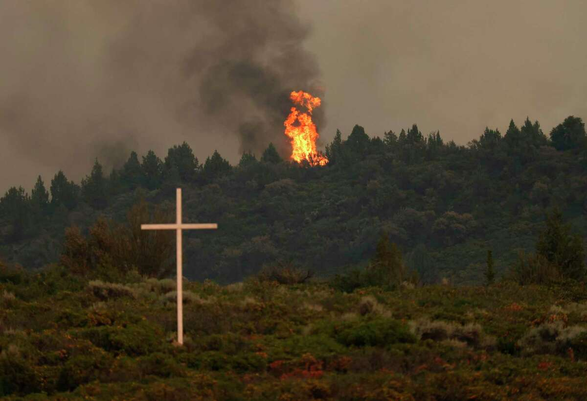 The Lava Fire flares up as it moves through the area in Weed (Siskiyou County).