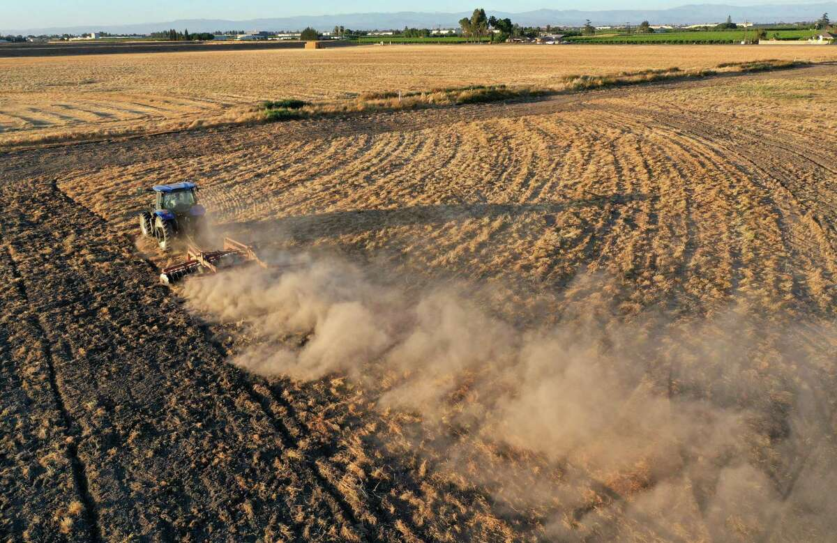 A tractor kicks up dust as it plows a dry field in Madera. Water is starting to become scarce in California's Central Valley.