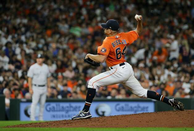 Houston Astros relief pitcher Brandon Bielak (64) throws against the New York Yankees during the seventh inning of an MLB game at Minute Maid Park on Friday, July 9, 2021, in Houston. Photo: Godofredo A Vásquez/Staff Photographer / © 2021 Houston Chronicle