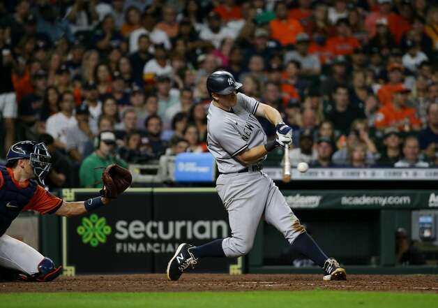 New York Yankees first baseman DJ LeMahieu (26) hit a two-RBI double against the Houston Astros during the seventh inning of an MLB game at Minute Maid Park on Friday, July 9, 2021, in Houston. Photo: Godofredo A Vásquez/Staff Photographer / © 2021 Houston Chronicle