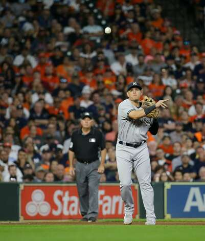 New York Yankees third baseman Gio Urshela (29) throws to first base for an out against the Houston Astros during the sixth inning of an MLB game at Minute Maid Park on Friday, July 9, 2021, in Houston. Photo: Godofredo A Vásquez/Staff Photographer / © 2021 Houston Chronicle