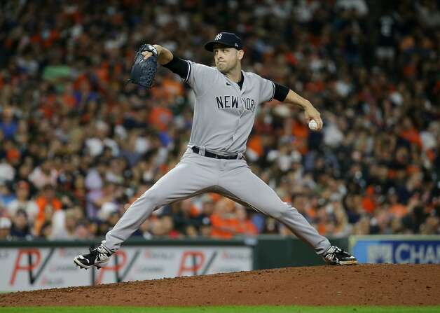 New York Yankees relief pitcher Lucas Luetge (63) throws a ball against the Houston Astros during the sixth inning of an MLB game at Minute Maid Park on Friday, July 9, 2021, in Houston. Photo: Godofredo A Vásquez/Staff Photographer / © 2021 Houston Chronicle