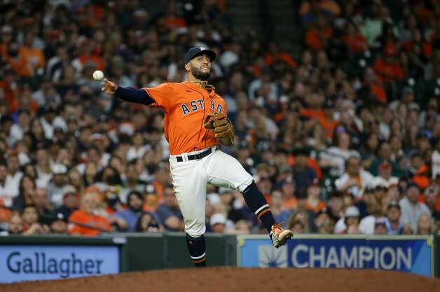 Houston Astros third baseman Abraham Toro (13) throws to first base for an out against the New York Yankees during the seventh inning of an MLB game at Minute Maid Park on Friday, July 9, 2021, in Houston. Photo: Godofredo A Vásquez/Staff Photographer / © 2021 Houston Chronicle