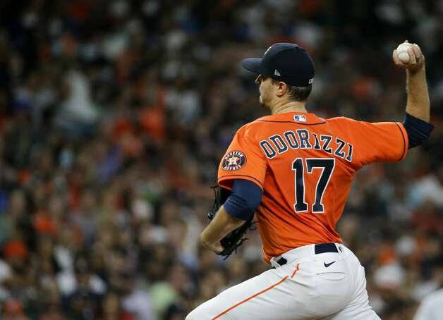 Houston Astros starting pitcher Jake Odorizzi (17) throws a ball against the New York Yankees during the fifth inning of an MLB game at Minute Maid Park on Friday, July 9, 2021, in Houston. Photo: Godofredo A Vásquez/Staff Photographer / © 2021 Houston Chronicle