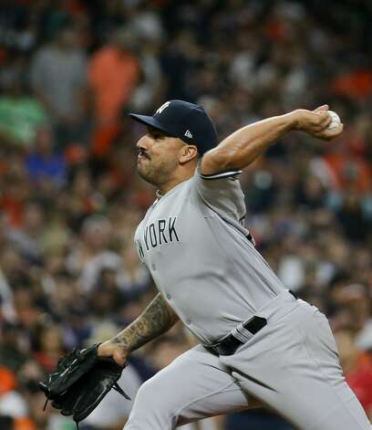 New York Yankees relief pitcher Nestor Cortes (65) throws a ball against the Houston Astros during the fifth inning of an MLB game at Minute Maid Park on Friday, July 9, 2021, in Houston. Photo: Godofredo A Vásquez/Staff Photographer / © 2021 Houston Chronicle