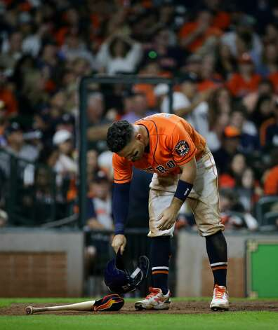 Houston Astros second baseman Jose Altuve (27) after striking out swinging against the New York Yankees during the fifth inning of an MLB game at Minute Maid Park on Friday, July 9, 2021, in Houston. Photo: Godofredo A Vásquez/Staff Photographer / © 2021 Houston Chronicle
