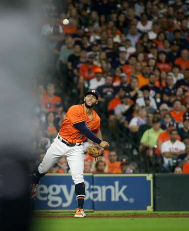 Houston Astros third baseman Abraham Toro (13) throws to first base for an out against the New York Yankees during the third inning of an MLB game at Minute Maid Park on Friday, July 9, 2021, in Houston. Photo: Godofredo A Vásquez/Staff Photographer / © 2021 Houston Chronicle