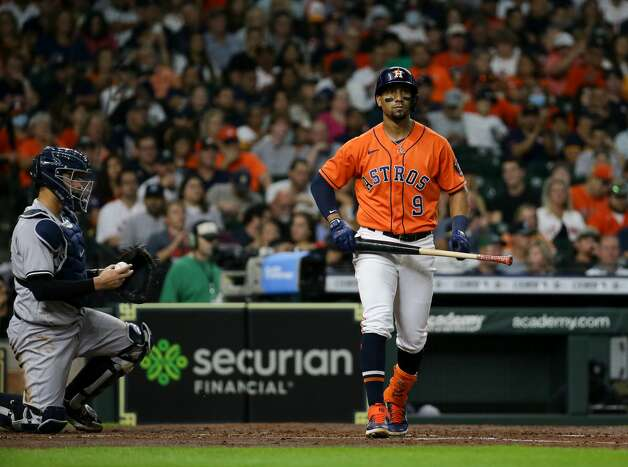 Houston Astros shortstop Robel Garcia (9) heads to first base after earning a walk against the New York Yankees during the third inning of an MLB game at Minute Maid Park on Friday, July 9, 2021, in Houston. Photo: Godofredo A Vásquez/Staff Photographer / © 2021 Houston Chronicle