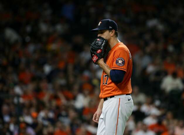 Houston Astros starting pitcher Jake Odorizzi (17) walks to the dugout after pitching a scoreless third inning during an MLB game against the New York Yankees at Minute Maid Park on Friday, July 9, 2021, in Houston. Photo: Godofredo A Vásquez/Staff Photographer / © 2021 Houston Chronicle