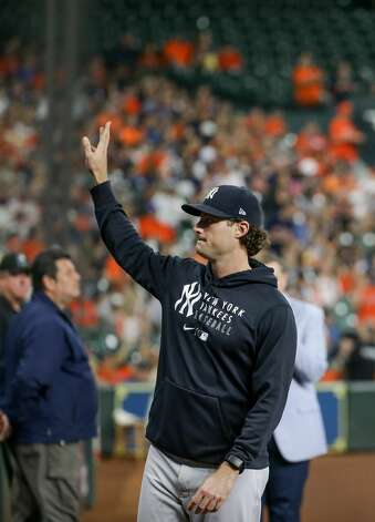 New York Yankees starting pitcher Gerrit Cole (45) waves to Houston Astros fans after a video tribute was played in his honor before the start of an MLB game at Minute Maid Park on Friday, July 9, 2021, in Houston. Photo: Godofredo A Vásquez/Staff Photographer / © 2021 Houston Chronicle