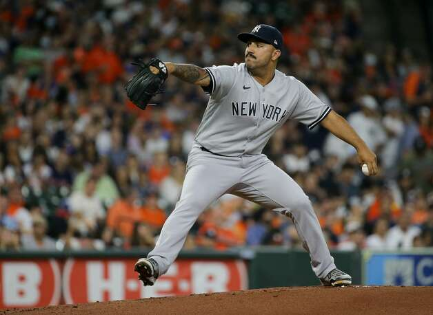 New York Yankees relief pitcher Nestor Cortes (65) throws a ball against the Houston Astros during the first inning of an MLB game at Minute Maid Park on Friday, July 9, 2021, in Houston. Photo: Godofredo A Vásquez/Staff Photographer / © 2021 Houston Chronicle