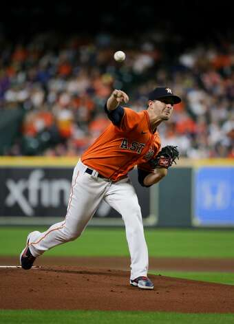 Houston Astros starting pitcher Jake Odorizzi (17) throws a ball against the New York Yankees during the first inning of an MLB game at Minute Maid Park on Friday, July 9, 2021, in Houston. Photo: Godofredo A Vásquez/Staff Photographer / © 2021 Houston Chronicle