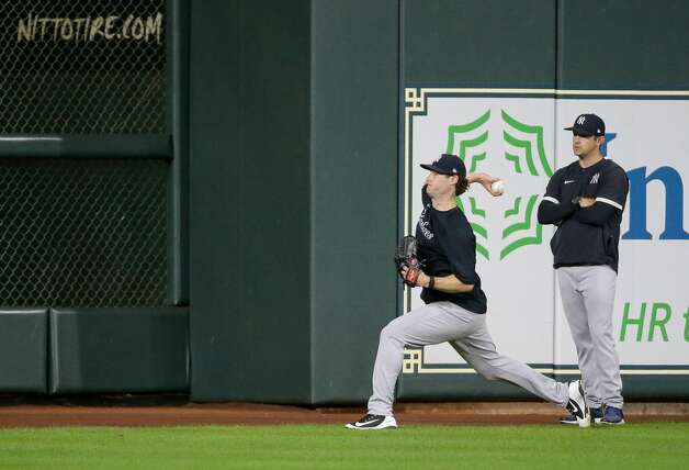New York Yankees starting pitcher Gerrit Cole (45) throws during warm up before an MLB game against the Houston Astros at Minute Maid Park on Friday, July 9, 2021, in Houston. Photo: Godofredo A Vásquez/Staff Photographer / © 2021 Houston Chronicle