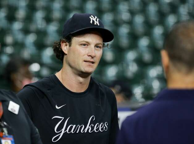 New York Yankees starting pitcher Gerrit Cole (45) during warmup before an MLB game against the Houston Astros at Minute Maid Park on Friday, July 9, 2021, in Houston. Photo: Godofredo A Vásquez/Staff Photographer / © 2021 Houston Chronicle