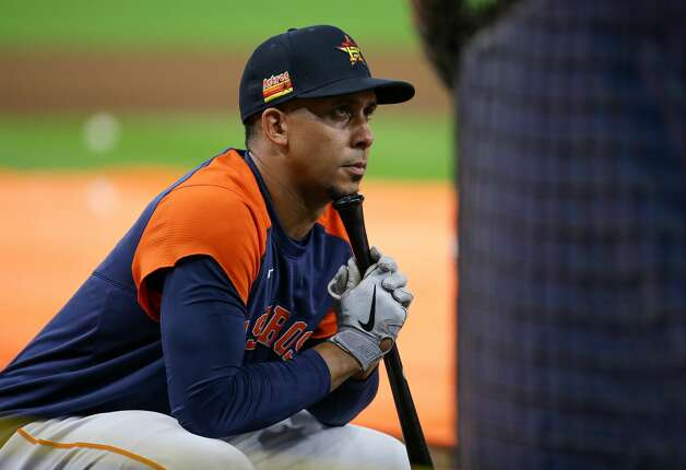 Houston Astros left fielder Michael Brantley (23) looks at teammates during batting practice, before an MLB game against the New York Yankees at Minute Maid Park on Friday, July 9, 2021, in Houston. Photo: Godofredo A Vásquez/Staff Photographer / © 2021 Houston Chronicle