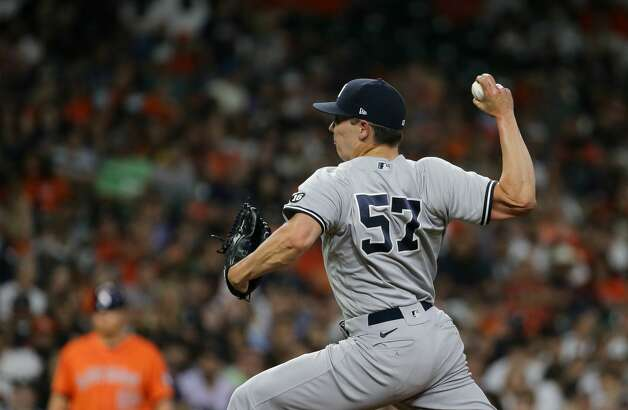 New York Yankees relief pitcher Chad Green (57) throws against the Houston Astros during the eighth inning of an MLB game at Minute Maid Park on Friday, July 9, 2021, in Houston. Photo: Godofredo A Vásquez/Staff Photographer / © 2021 Houston Chronicle
