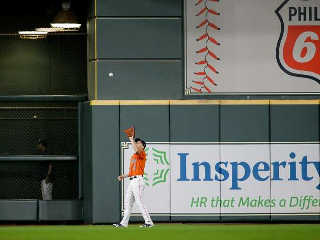Houston Astros center fielder Myles Straw (3) catches a ball for an out against the New York Yankees during the eighth inning of an MLB game at Minute Maid Park on Friday, July 9, 2021, in Houston. Photo: Godofredo A Vásquez/Staff Photographer / © 2021 Houston Chronicle