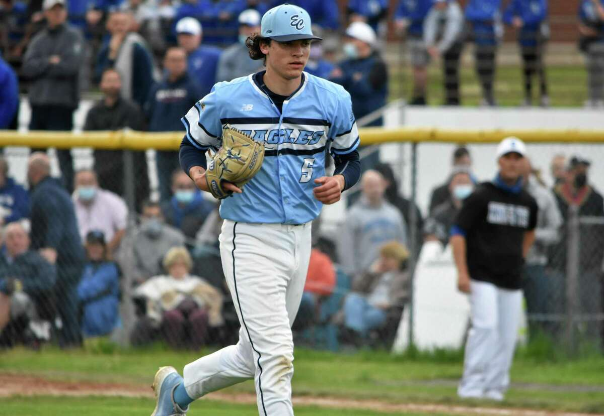 East Catholic's Frank Mozzicato struck out 17 batters in a no-hit performance against Southington on Monday, May 10, 2021 at Southington high school.